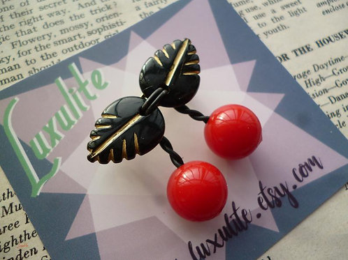 Teenie Tiny Cherry Pin Brooch by Luxulite - Tropical Fruit Pinup