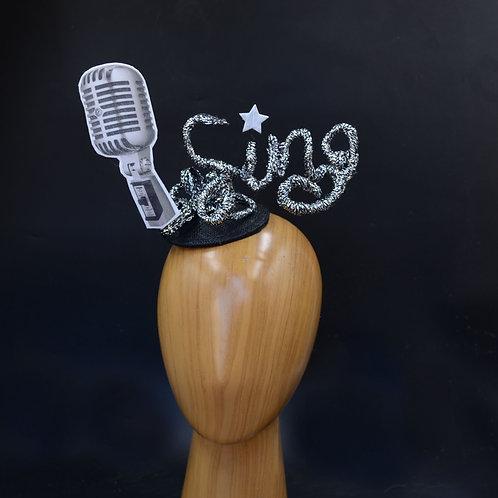 Sing! Microphone Fascinator Hat | Black & Silver Hatinator | American Idol