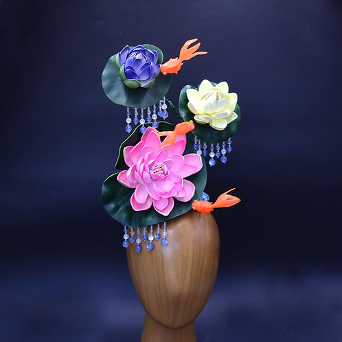 "Surreal ""Floating"" Water Lily Fascinator Hat with Goldfish 