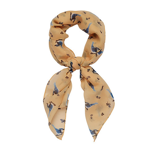 The Blue Jay Way Head Scarf  | Blue Birds on Yellow Background