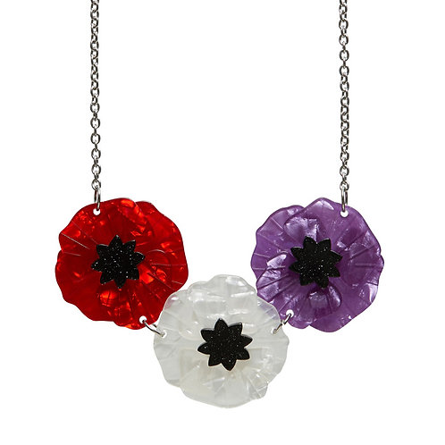 Poppy Field Necklace Multi by Erstwilder | Red, White, Purple Flower