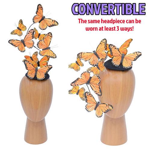The Effie - Orange Butterfly Fascinator Hat