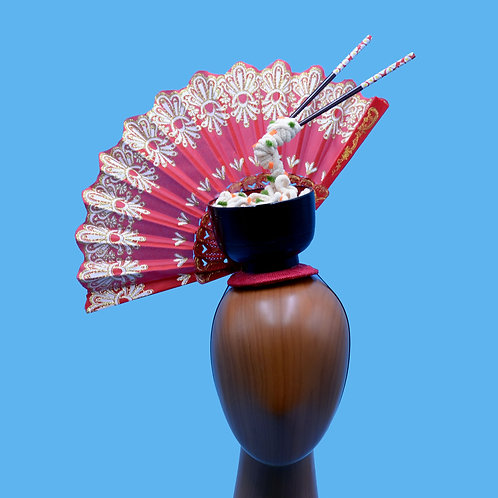 Red Japanese Fan and Udon Noodle Costume Headpiece