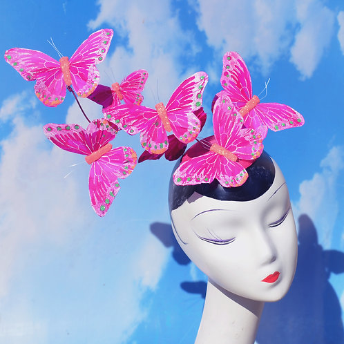 "Pink ""Effie"" Feather Butterfly Fascinator Hat"