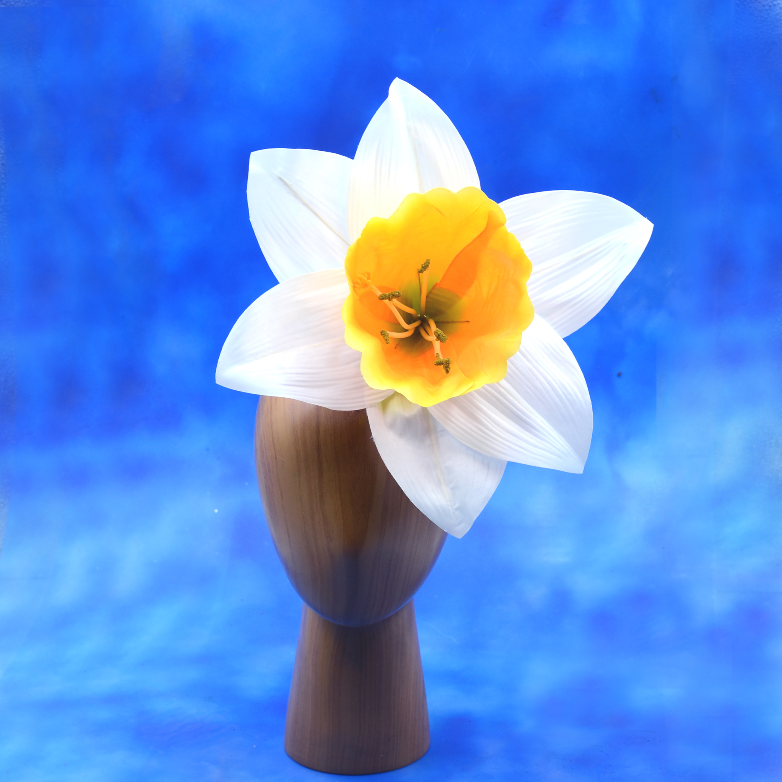 Large White Daffodil Floral Headpiece Fa