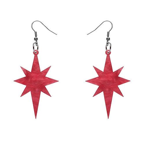 Starburst Ripple Glitter Resin Drop Earrings - PINK