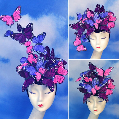 "Pink, Purple, Violet ""Madame Butterfly"" Fascinator Hatinator Hat"