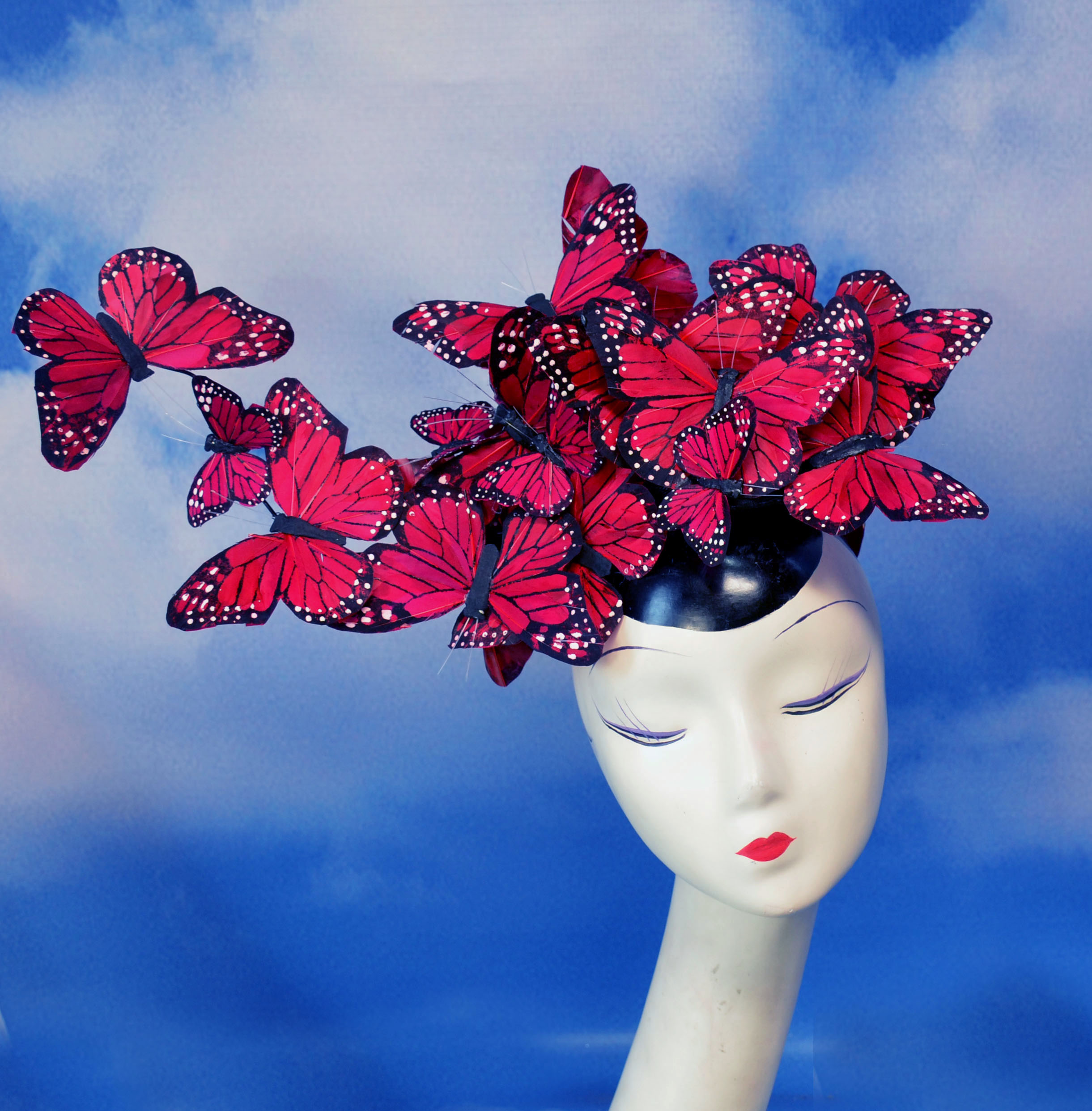 Red Madame Butterfly Feather Headpiece