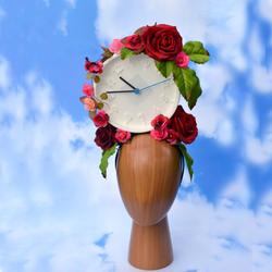 Red Floral White Clock Surrealist Headpi