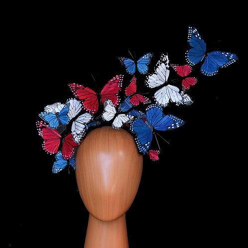 """The """"Issie"""" - Red, White, Blue Adjustable Feather Butterfly Headband Fascinator"""