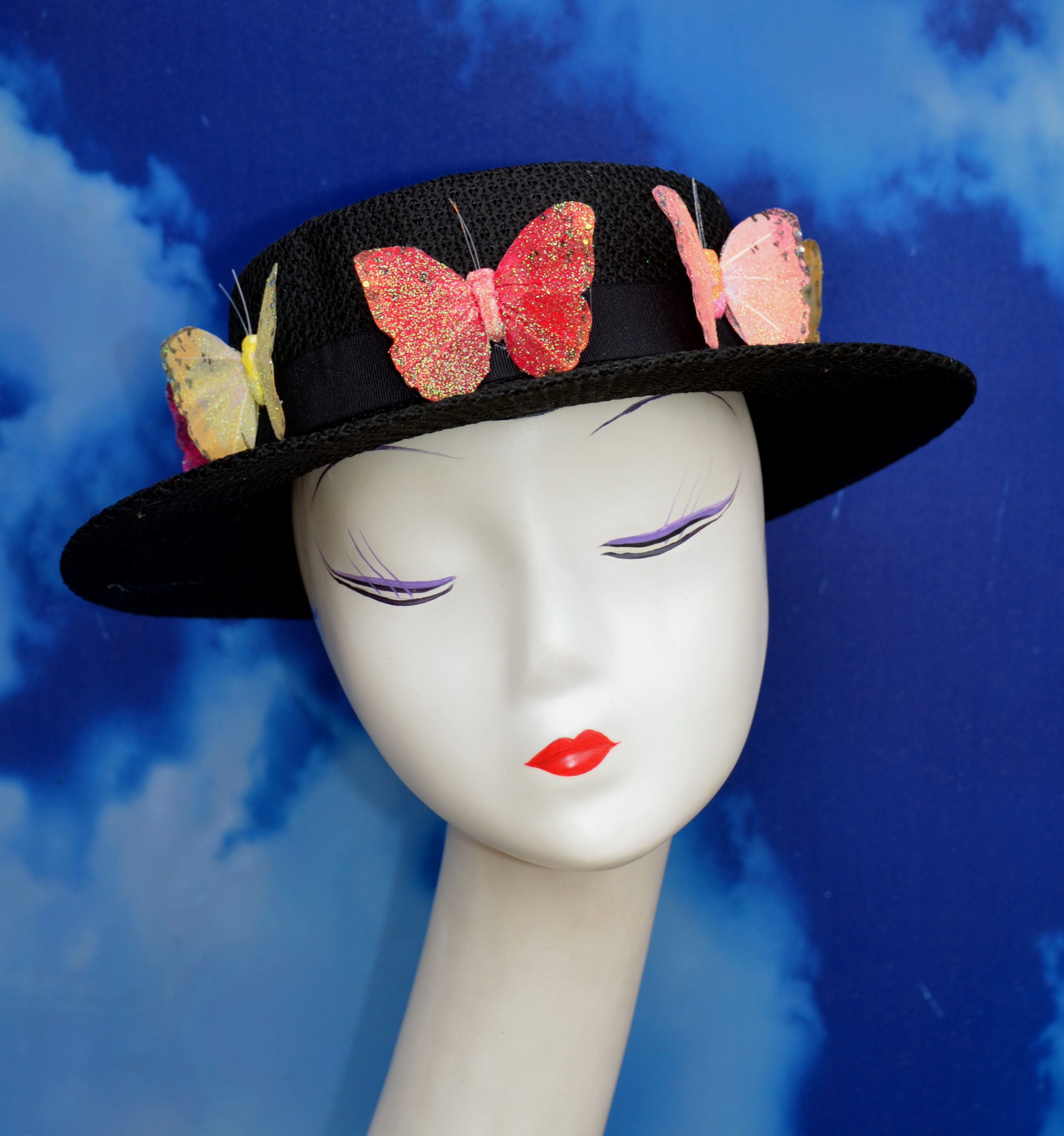 Rainbow Butterfly Boater Hat
