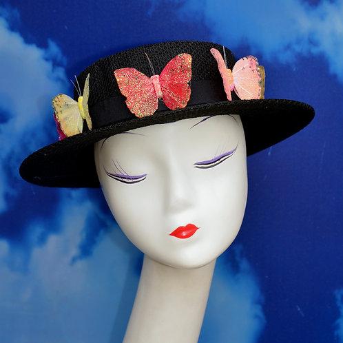 Rainbow Glitter Butterfly Black Boater Hat
