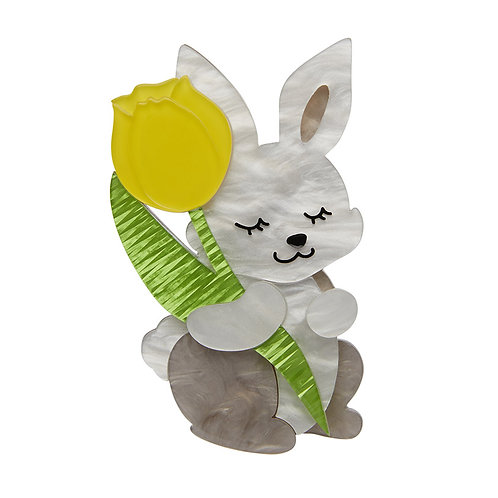 Junior & His Tulip Brooch by Erstwilder | Gray Rabbit Bunny w/ Yellow Flower