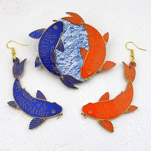 Koi Fish Orange & Navy Blue Brooch and/or Earrings by MissJ Designs