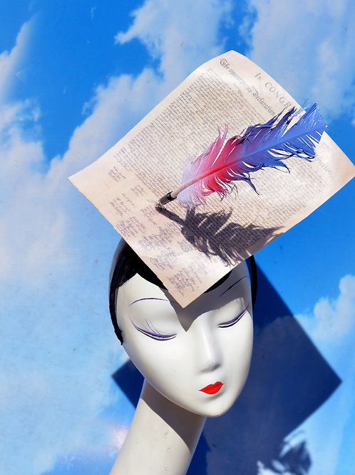 Declaration of Independence & Feather Quill Surrealist Headpiece