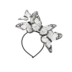 White Monarch Feather Butterfly Mariposa Headband Crown