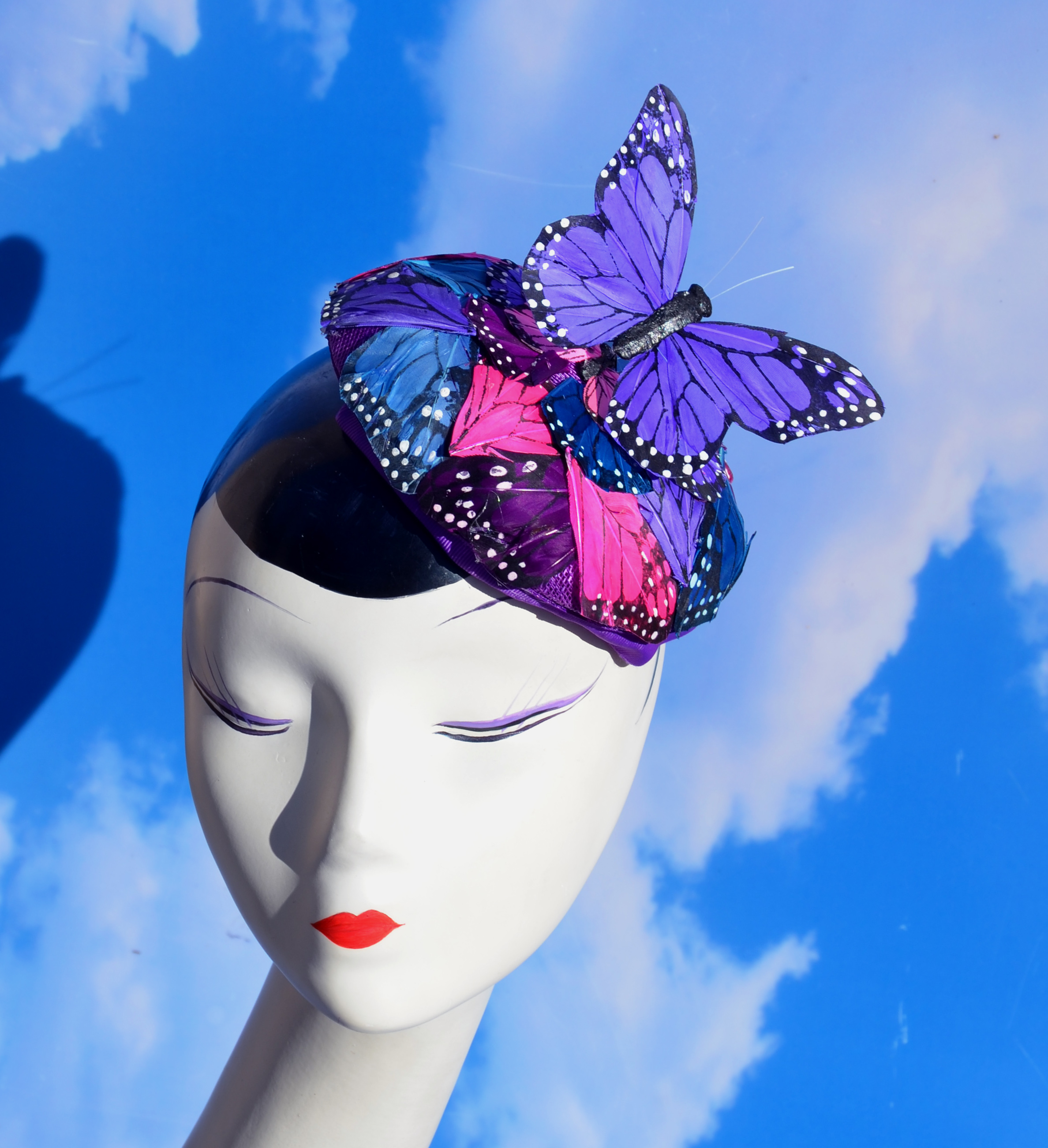 Purple Butterfly Pillbox Hat