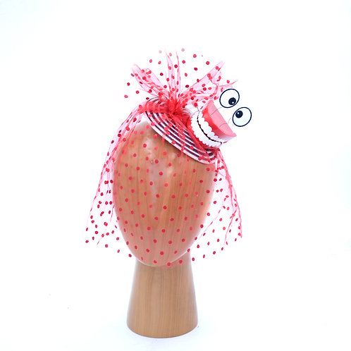 Chattering Teeth & Cartoon Eyes on Black and White Fascinator Hat w/ Red Veiling