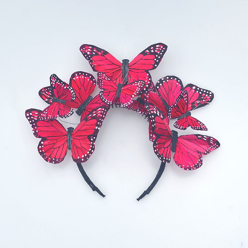 Red or Pink Butterfly Fascinator Headband