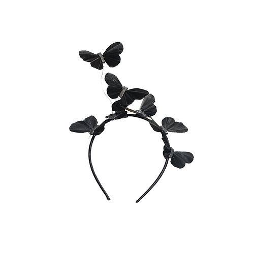 Raven Black Butterfly Fascinator Headband