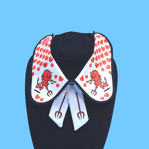 HOT STUFF COLLAR by InterroBangBang | Red Devil withHearts & Pitchfork