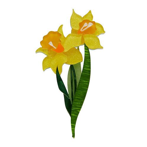 Garden Goddess Daffodil Brooch by Erstwilder | Yellow Daffodil Flower