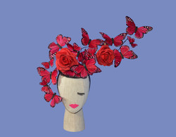 The Rosa- Large Red Butterfly & Red Rose Floral Headpiece