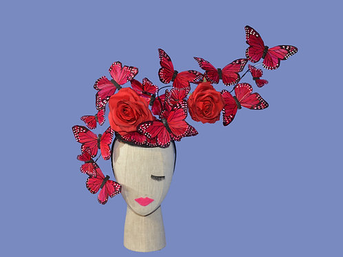 The Rosa - Custom Feather Butterfly & Rose Floral Hatinator - Adjustable Design