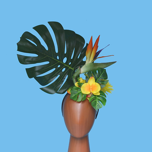 Tropical Leaves Floral Headdress with Birds of Paradise Flower | Made to Order