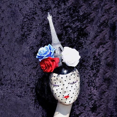 Large LIGHT UP French Eiffel Tower Fascinator Hat with Red, White, Blue Roses &