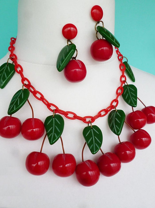 Cherry Jubilee Fruit Statement Necklace - Classic Luxulite