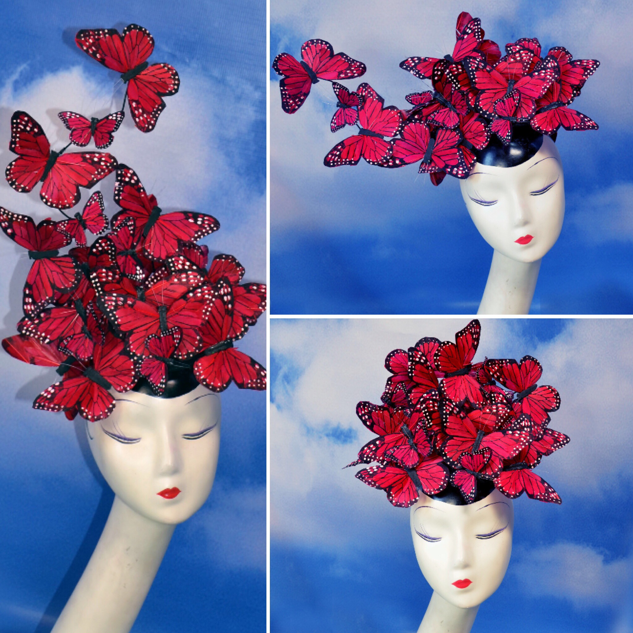 Red Butterfly Feather Hatinator