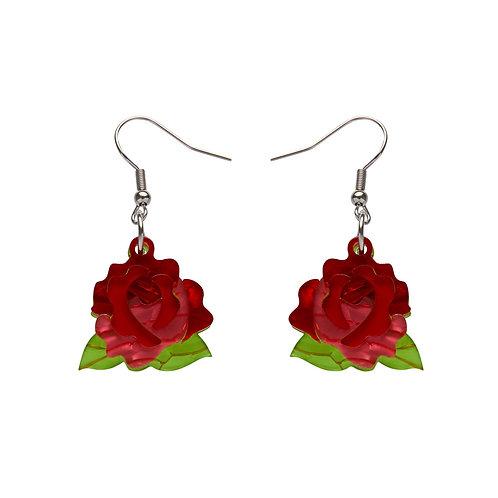Juliet's Blooms Rose Drop Earrings by Erstwilder | Red Rose | Flower