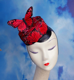 Red Butterfly Pillbox Hat