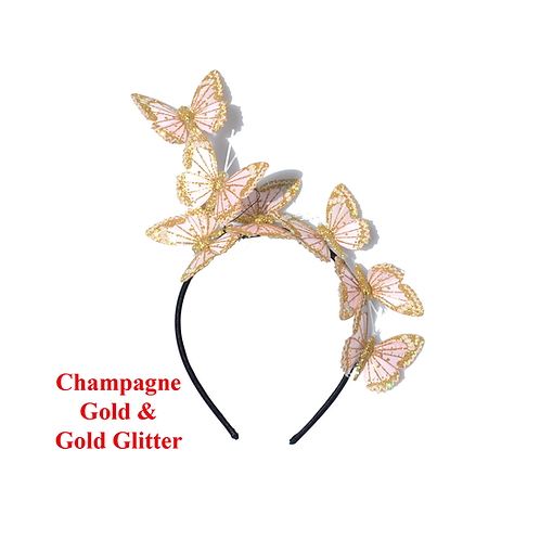 Yellow or Gold Glitter Butterfly Fascinator Headbands