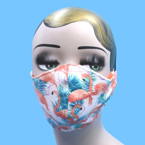 Tropical Flamingo Print Face Mask w/ Filter Pocket