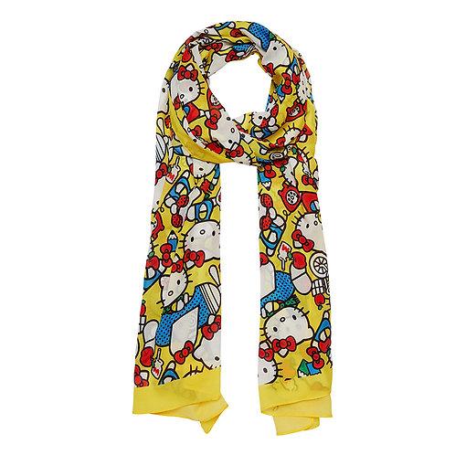 Hello Kitty Adventure Large Neck Scarf by Erstwilder | Yellow