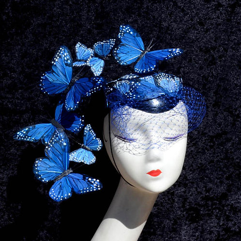 Dramatic Blue Butterfly Pillbox Cocktail Hat with Veil