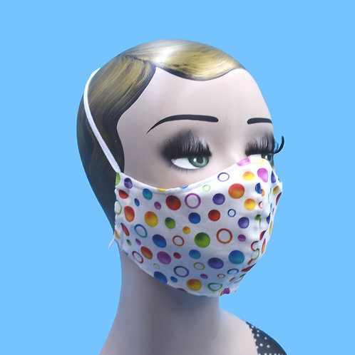 White or Black Rainbow Polka Dots Clown Face Mask