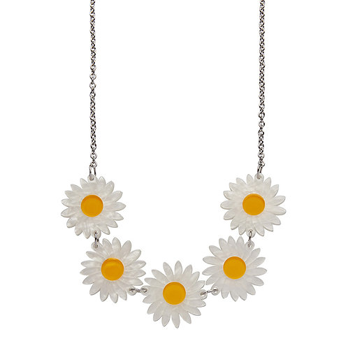 She Loves Me Daisy Necklace by Erstwilder | White Daisy Chain Flowers
