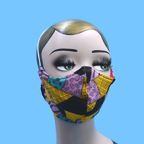 Nightmare Before Christmas, Sally Patchwork Print Face Mask w/ Filter Pocket