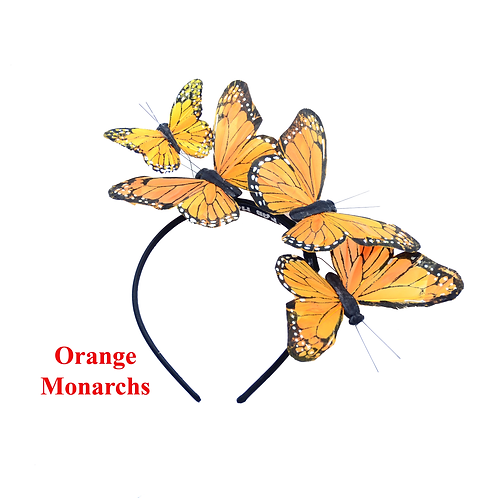 "The ""Mariposa"" - Orange or Yellow-Orange Monarch Feather Butterfly Headband"