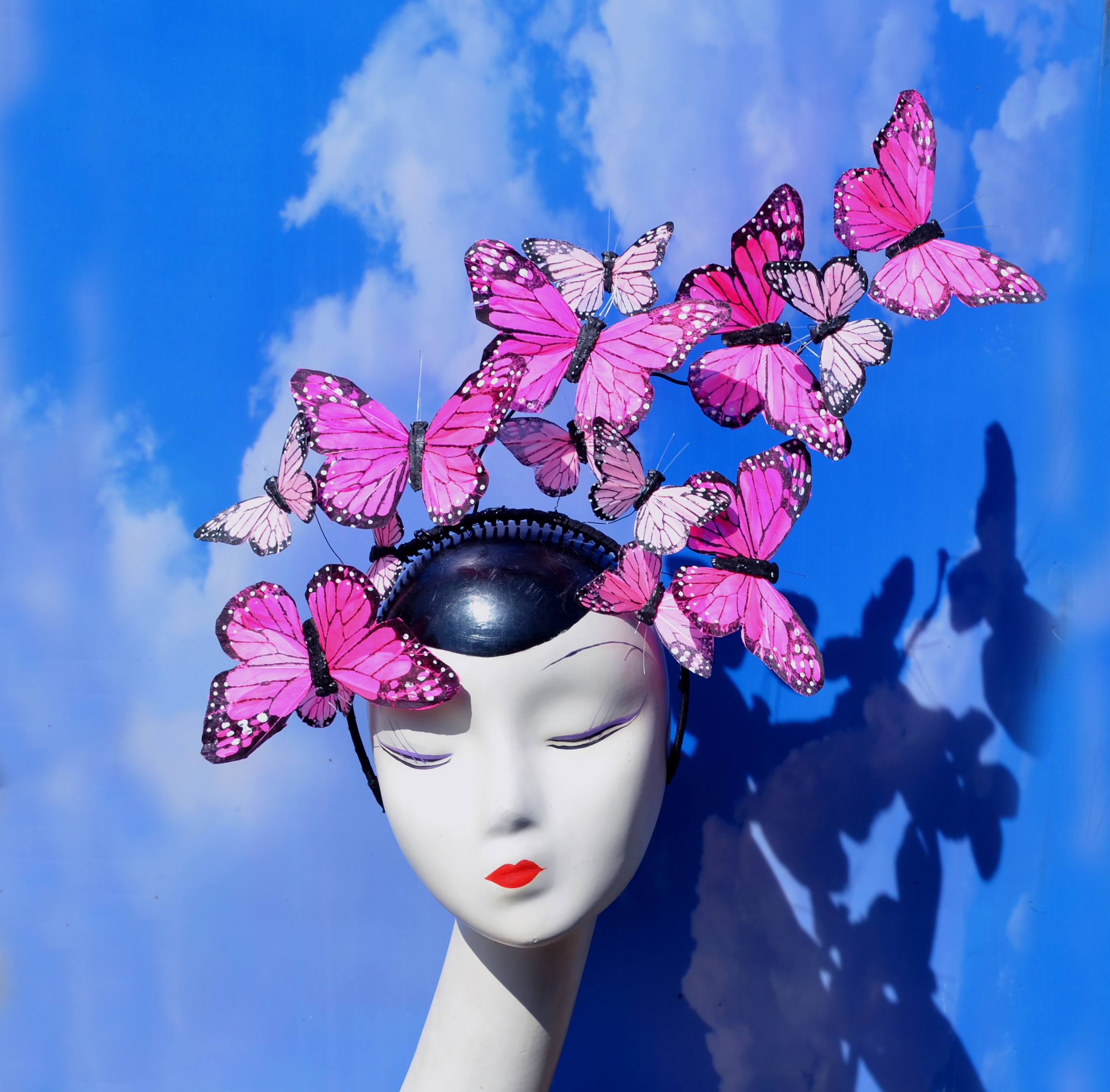 Pink Butterfly Issie Fascinator Headband