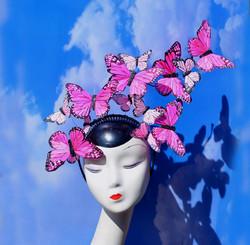 Pink Butterfly Issie Fascinator Headband
