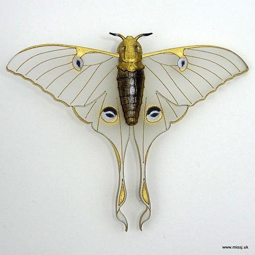 Luna Moth Snow White Brooch by MissJ Designs | Butterfly