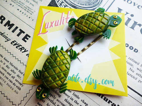 Totally Turtley! Vintage Bakelite Fakelite Inspired Pinup Hair Slides Barrettes