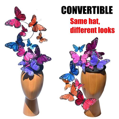 RAINBOW Effie PLUS+ Feather Butterfly Fascinator Hatinator Headpiece