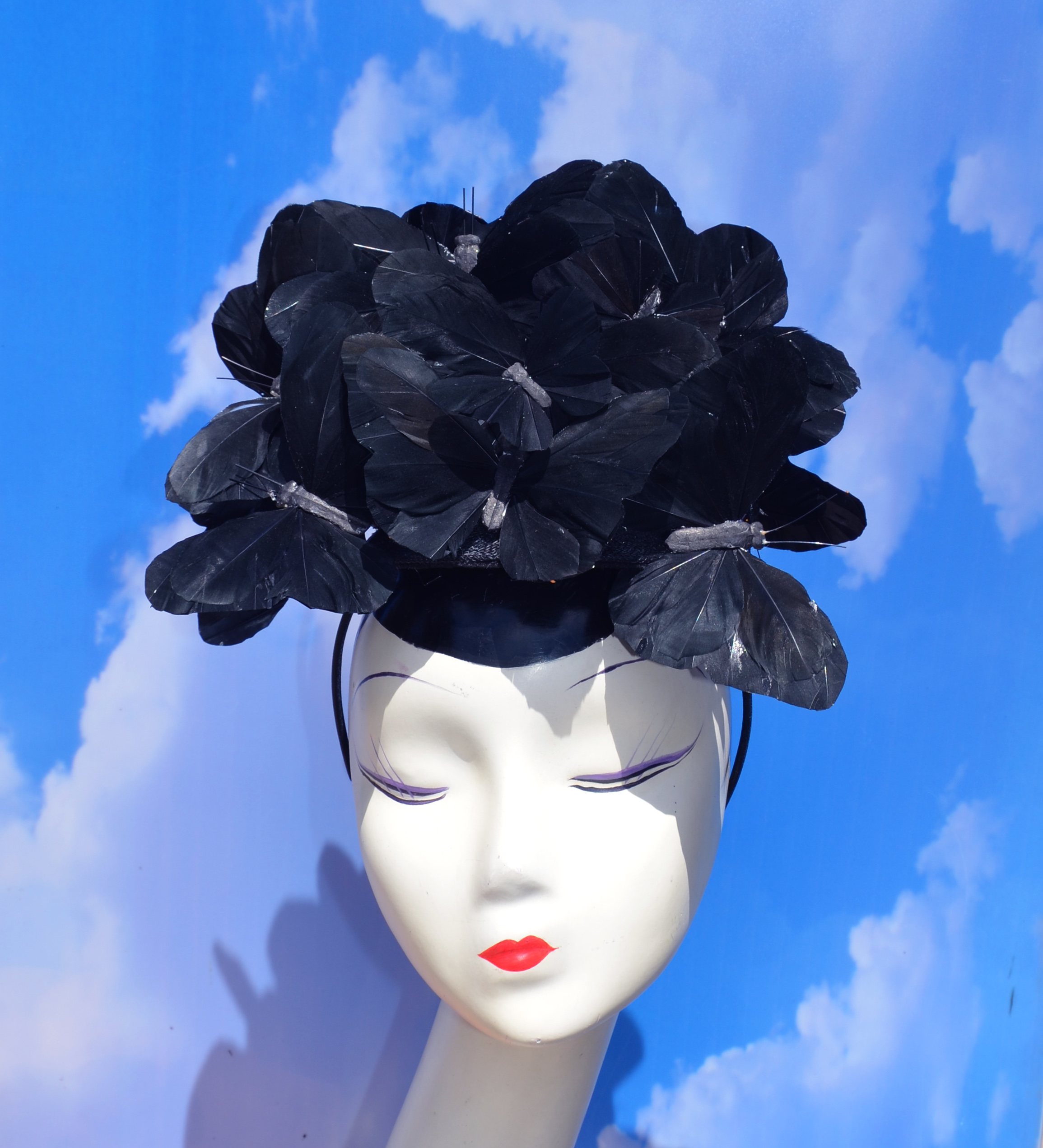 Beatrice Black Butterfly Fascinator Hat