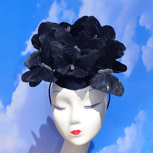 The Beatrice - Black Feather Butterfly Hatinator Fascinator Cocktail Hat
