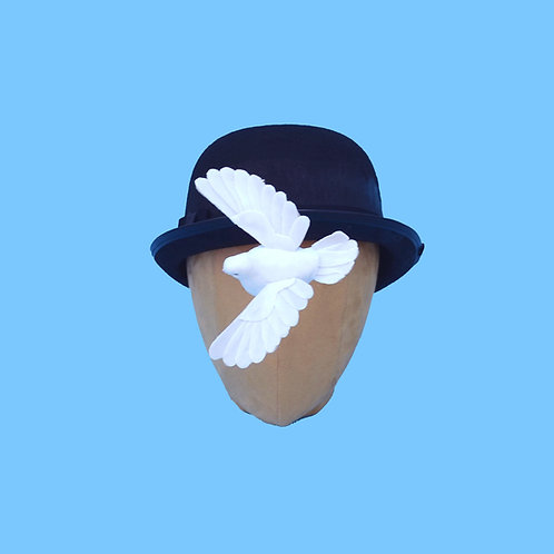 Bird Attack or Floating Dove | Surrealist Dove Bowler Hat | Magritte Costume Ha